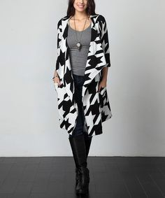 Another great find on #zulily! Black & White Houndstooth Drape Cardigan - Plus #zulilyfinds