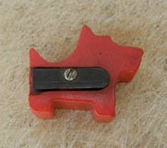 BAKELITE PENCIL SHARPENER LIpstick Red Scottie Dog Vintage Made in the United States MId 20th Century by OnceUpnTym on Etsy