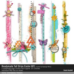 Readymade Tall Strips: Easter No. 01 Easter element clusters in vertical border strips #designerdigitals #readymade