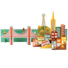 Petit Collage Pop-out and Play San Francisco. Made from recycled paper and vegetable inks.