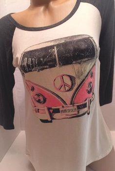 New FREE SPIRIT and PEACE Raglan Print T-Shirt Top SMALL #LovelySouls #GraphicTee