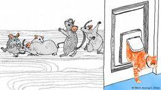 """IST DIE KATZE AUS DEM HAUS, TANZEN DIE MAUSE AUF DEM TISCH  -  Sprichwörter belehren oft Kinder. Dieses nicht. Ist der Lehrer, ein Elternteil oder eine andere Autoritätsperson nicht mehr in Sichtweite, treiben die Kinder Schabernack. Dieses Verhalten trifft natürlich nicht nur auf Kinder zu! Das Sprichwort ist so allgemeingültig, dass es in zahlreichen Sprachen existiert - zum Beispiel im Englischen: """" When the cat's away, the mice shall play."""""""