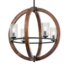 Kichler Grand Bank 20-in Auburn Rustic Hardwired Single Seeded Glass Globe Pendant