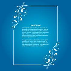 9a822e208 Elegant floral frame on blue background Dicas