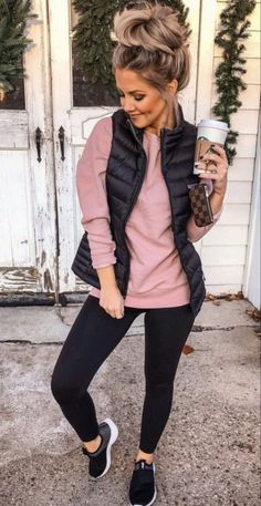 casual comfy outfits, comfy legging outfits, casual outfits for winter, Winter Fashion Outfits, Casual Fall Outfits, Fall Winter Outfits, Look Fashion, Autumn Winter Fashion, Fashion Ideas, Vest Outfits For Women, Mom Fall Fashion, Fashion Styles