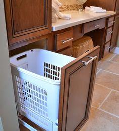 Smart idea to hide the hamper for more space