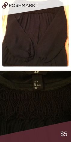 H & M black and navy shirt with lace neck detail Super cute and classy dress shirt ⚫️ H&M Tops Blouses