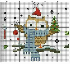 Owl Christmas cross stitch.