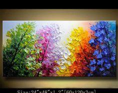 Contemporáneo Arte, pintura al cuchillo de paleta, colorido paisaje mural, decoración de la pared, decoración del hogar, acrílico con textura pintura encendido lona Chen 0314