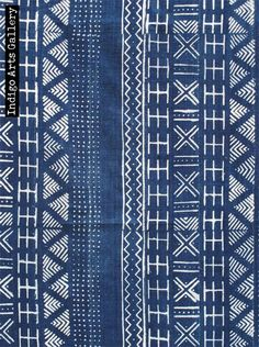 Antique Strip-weave cotton fabric resist-dyed with natural indigo dye by the Bamana people from Mali