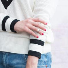 @advinfashion has her Wednesday uniform down: comfy striped sweater, boyfriend jeans and silver accents! #TheShoppingBag