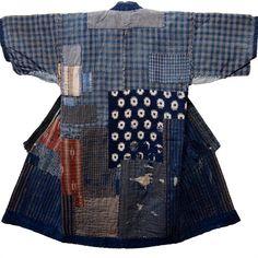 Boro Patchwork Noragi Indigo Farmer Kimono For Displaying Boro patched & patched again. A little sashiko stitching. Shibori, Harajuku Fashion, Fashion Outfits, Boro Stitching, Japanese Embroidery, Floral Embroidery, Embroidery Patterns, Style Challenge, Fashion Challenge