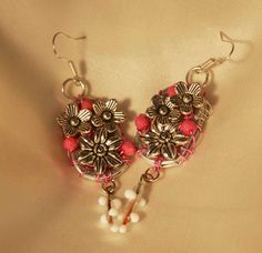 Upcycled Ring Pull / Tab Earrings with Pink Beads and Flower Charms. $20.00, via Etsy.