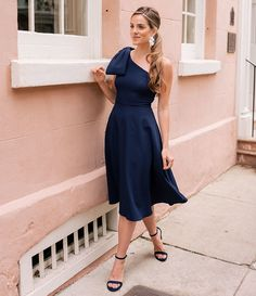 ac9af398a44 Gal Meets Glam Collection Yvonne Bow One Shoulder A-Line Midi Dress