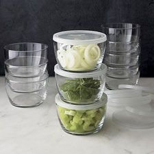12 Storage Bowls With Clear Lids from Crate & Barrel  • $19.95 for a set of 12