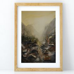 Mountain Village at Sunrise – Claire Gunn - Watercolour painting - Village in the mountains at sunrise. Mountain Village, Watercolour Painting, Claire, Original Artwork, Fine Art Prints, Sunrise, Mountains, Illustration, Artist