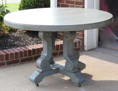 Lovely Round Pedestal Gray Dining Table On Floors Paver For Room Furniture Amazing Solid Painted Rounded