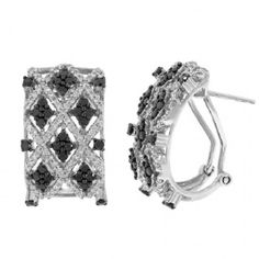 1.80Ct 14K White Gold Black & White Diamond Hoop Omega Back Earrings