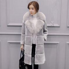 Parka Womens Faux Fur Fox Fur Collar Winter Jacket Trench Coat Outwear