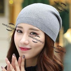 Autumn & Winter Soft Cashmere Wool Hat For Women Knit Slouchy Beanie Casual Hats