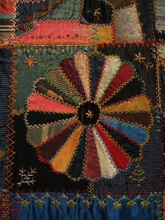 Section of an antique Crazy Quilt .I love crazy quilts! Crazy Quilt Stitches, Crazy Quilt Blocks, Crazy Quilting, Embroidery Designs, Quilting Designs, Penny Rugs, Antique Quilts, Vintage Quilts, Dresden Plate Quilts