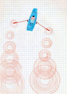 dessin : barque, rivière, ronds dans l'eau, quadrillage, cercles, cibles