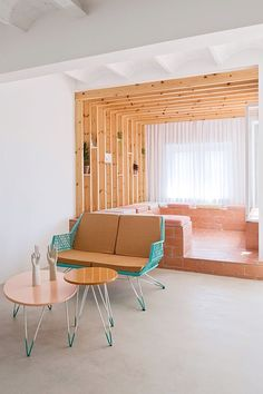 Wonderful use of exposed brick and pine slats in this otherwise stark white contemporary space. | Interior design; interior architecture; interior styling; interior decor; homewares; pink; Turquoise; wire furniture; mid century modern | MINTY WARES | VIA: sfgirlbybay.com decorating with playful pastels / sfgirlbybay