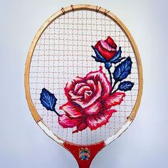Coming up roses. Today's talent and embroidery inspiration comes from artist Danielle Clough AKA @fiance_knowles and one of her beautiful vintage tennis racket tapestries. This Victoria rose is influenced by classic tattoo design.