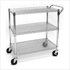 """Commercial Utility Cart 18"""" D x 30"""" W x 32"""" H (without measuring handle bar) $90 May be to put all the office things on and keep next to desk Z"""