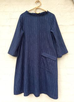 Merchant and Mills Trapeze dress with added stand up collar and pocket with flap