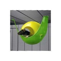 A plastic fancy pet rat toy/hammock. This will put up with some of the harsher damage rats can meet out while still being adorably cute.