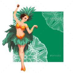 Woman Samba Dancer. Rio Carnival. Vector