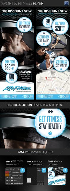 Gym, Fitness, Health and Sport Center Flyer - Sports Events Fitness Flyer, Gym Fitness, Fitness Sport, Health Fitness, Flyer Printing, Sports Flyer, Business Flyer Templates, Health Center, Print Templates