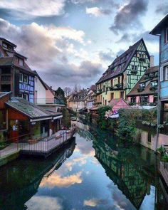 The Little Venice - Colmar, France at dusk. Next time.A day trip can be taken from Paris to Colmar and Strasbourg. Places Around The World, Oh The Places You'll Go, Places To Travel, Places To Visit, Around The Worlds, Beautiful Sites, Beautiful World, Beautiful Pictures, Amazing Photos