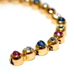 1900's Exqusite French Diamond Ruby & Sapphire Gold Bracelet. image 2