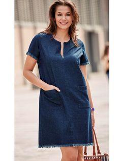 Original vestido vaquero de líneas simples y depuradas que te ofrece un confort máximo con detalles renovados. Vestido vaquero de escote redondeado con - Venca - 144921