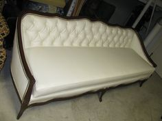 French White and Faux Leather Sofa Couch
