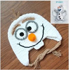 Olaf Snowman Hat Youth Size 2T - 7 Handmade Crochet w/ Ear Flaps & Tassels Inspired by Frozen' on #tophatter #beanie #halloween #Olaf