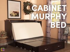 Perfect for guests - Turn a living, dining, or ANY room into a guest space with this incredible Murphy bed cabinet. It even comes with a mattress and extra storage. Talk about space saving! Folding Furniture, Space Saving Furniture, Furniture Online, Sofa Bed Video, Murphy-bett Ikea, Hideaway Bed, Hidden Bed, Murphy Bed Plans, Murphy Beds