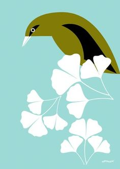 """""""Ginkgo Perch"""" Stretched Canvas Art by Eleanor Grosch for GreenBox Art + Culture size 10x14 $59 and 18x24 $119"""