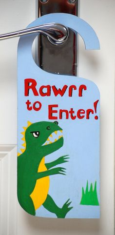 Personalized Dinosaur hand painted door sign, Tyrranossaurus Rex, Boy's bedroom art, T-Rex decor, Kids playroom, personalized decor on Etsy, £8.00