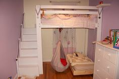 DIY Loft bed into bunk bed with a hanging ikea ekorre swing. Kids love their new space.