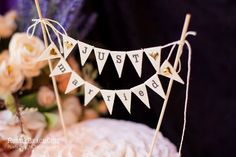 Just Married Wedding Cake Topper Banner with от RusticBeachChic