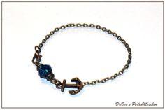 Armband Armkettchen Anker blau von DaBea's PerlenMaschen auf DaWanda.com