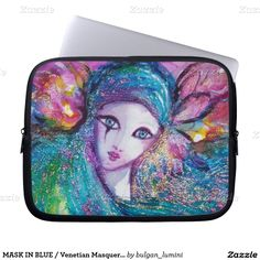 MASK IN BLUE / Venetian Masquerade Ball,teal Laptop Sleeves