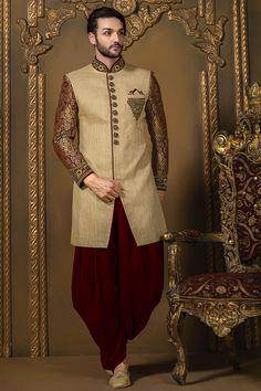 Samayakk Cream & Maroon Cotton & Brocade Sherwani  #Samayakk, #Cream…