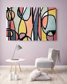 vibrant colorful abstract 0 19 mid century modern colorful canvas art print mid century modern canvas art print up to 72 by irena orlov Modern Canvas Art, Canvas Artwork, Canvas Art Prints, Modern Art, Abstract Canvas, Abstract Oil, Colorful Abstract Art, Geometric Art, Geometric Painting