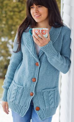 Free Knitting Pattern for Fezziwig Cardigan - Cozy, top down, raglan cardigan with shawl collar, cable pockets, and beautiful back details is a quick knit in bulky yarn. Adult sizes 32(34, 38)/81(86, 97)cm. Designed by Melissa Schaschwary