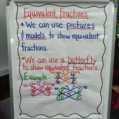 "Equivalent fractions anchor chart for the ""butterfly method"""