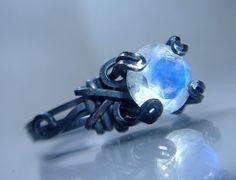 Blue Rainbow Moonstone RIng Oxidized Sterling by PassionateJewelry, $44.00